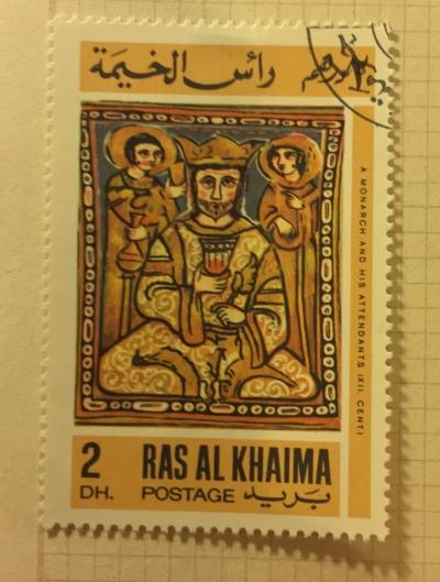 Почтовая марка Рас-Аль-Хайма (Ras al Khaima) A monarch and his attendands   Год выпуска 1967   Код каталога Михеля (Michel) RK 168A