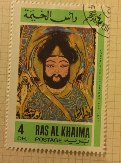 Почтовая марка Рас-Аль-Хайма (Ras al Khaima) Monarch on his throne | Год выпуска 1967 | Код каталога Михеля (Michel) RK 170A