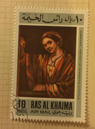Почтовая марка Рас-Аль-Хайма (Ras al Khaima) Hendrickje Stoffels (about 1658), by Rembrandt   Год выпуска 1967   Код каталога Михеля (Michel) RK 181A