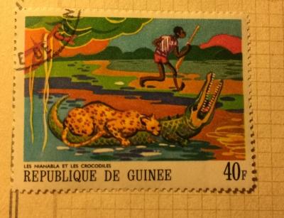 Почтовая марка Гвинея (Republique du Guinee) Nianablas and the Crocodiles   Год выпуска 1968   Код каталога Михеля (Michel) GN 489