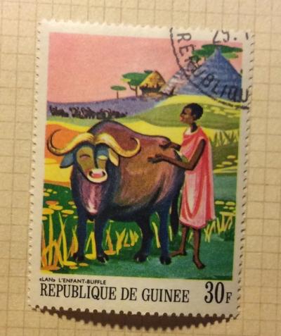 Почтовая марка Гвинея (Republique du Guinee) Lan, the Child Buffalo | Год выпуска 1968 | Код каталога Михеля (Michel) GN 488