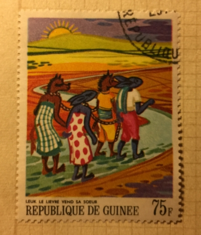Почтовая марка Гвинея (Republique du Guinee) Leuk the Hare Selling his Sister | Год выпуска 1968 | Код каталога Михеля (Michel) GN 482