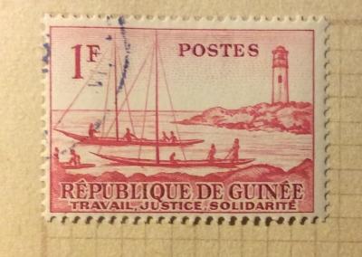 Почтовая марка Республика Гвинея (Rebulique de Guinee) Ships and lighthouse | Год выпуска 1959 | Код каталога Михеля (Michel) GN 8