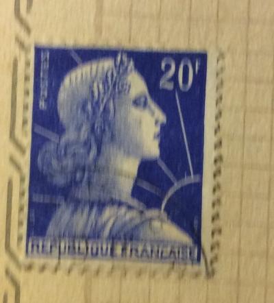 Почтовая марка Франция (France postage) Marianne de Muller   Год выпуска 1957   Код каталога Михеля (Michel) FR 1011B