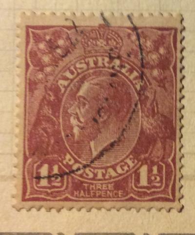 Почтовая марка Австралия (Postage Australia) King George V | Год выпуска 1919 | Код каталога Михеля (Michel) AU 57Xa