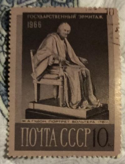 Почтовая марка СССР Статуя французского писателя и философа Вольтера | Год выпуска 1969 | Код по каталогу Загорского 3364-2