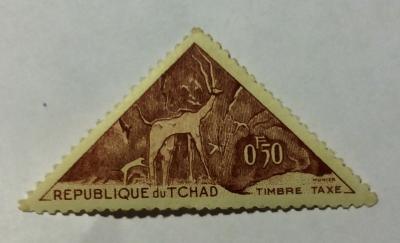 Почтовая марка Чад (Republique du Tchad) Kudu, hunters period   Год выпуска 1962   Код каталога Михеля (Michel) TD P24