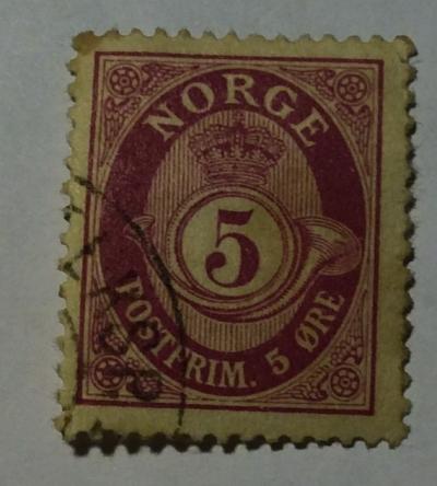 Почтовая марка Норвегия (Norge postfrim) Posthorn 'NORGE' in Roman Capitals   Год выпуска 1921   Код каталога Михеля (Michel) NO 96a