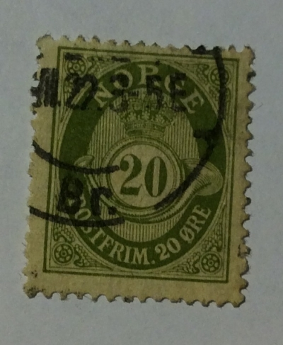 Почтовая марка Норвегия (Norge postfrim) Posthorn 'NORGE' in Roman Capitals   Год выпуска 1921   Код каталога Михеля (Michel) NO 100