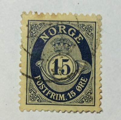 Почтовая марка Норвегия (Norge postfrim) Posthorn 'NORGE' in Roman Capitals   Год выпуска 1920   Код каталога Михеля (Michel) NO 99