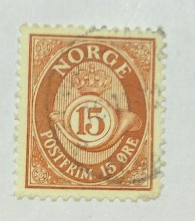 Почтовая марка Норвегия (Norge postfrim) Posthorn- NORGE in Roman Capitals   Год выпуска 1910   Код каталога Михеля (Michel) NO 71