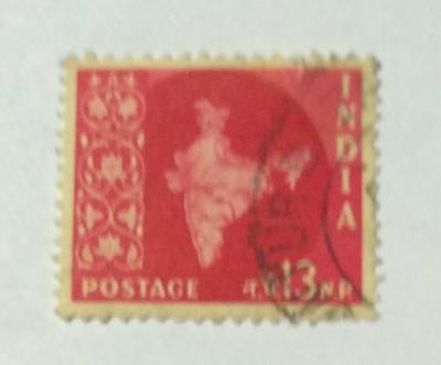Почтовая марка Индия (India postage) Map of India | Год выпуска 1957 | Код каталога Михеля (Michel) IN 266