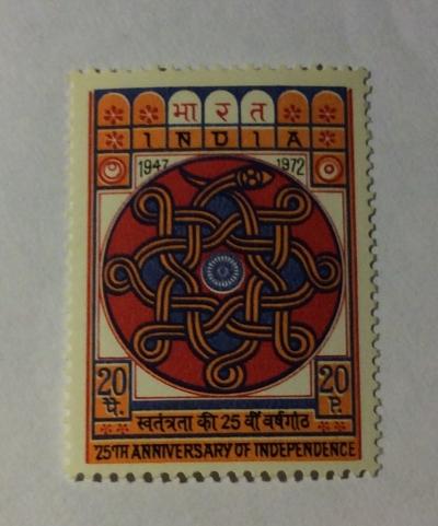 Почтовая марка Индия (India postage) Wheel of Asoka   Год выпуска 1973   Код каталога Михеля (Michel) IN 553