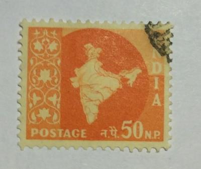 Почтовая марка Индия (India postage) Map of India | Год выпуска 1957 | Код каталога Михеля (Michel) IN 270