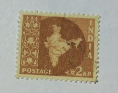 Почтовая марка Индия (India postage) Map of India | Год выпуска 1957 | Код каталога Михеля (Michel) IN 260