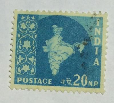 Почтовая марка Индия (India postage) Map of India | Год выпуска 1958 | Код каталога Михеля (Michel) IN 295