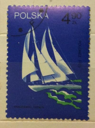 "Почтовая марка Польша (Polska) ""Polonez"", sailed around the world, 1973 | Год выпуска 1974 | Код каталога Михеля (Michel) PL 2321"