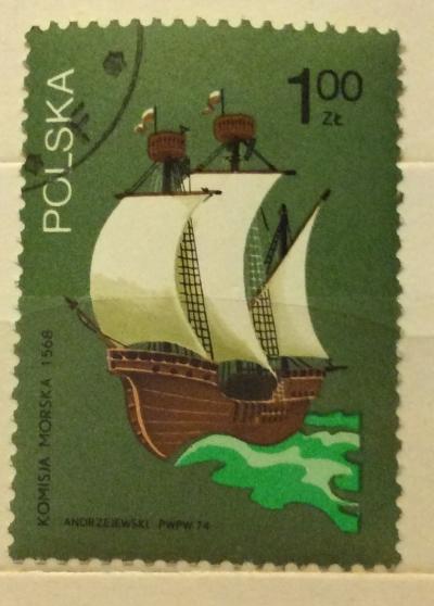 Почтовая марка Польша (Polska) Sailing ship, 16th century | Год выпуска 1974 | Код каталога Михеля (Michel) PL 2317