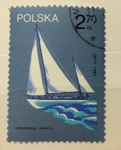 "Почтовая марка Польша (Polska) ""Opty"", sailed around the world, 1969 | Год выпуска 1974 | Код каталога Михеля (Michel) PL 2319"