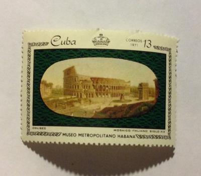 Почтовая марка Куба (Cuba correos) Colosseum, Rome;.. Ital mosaic, 19th century   Год выпуска 1971   Код каталога Михеля (Michel) CU 1677