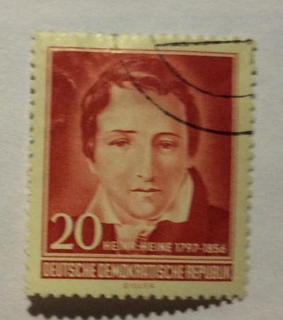 Почтовая марка ГДР (DDR) Heinrich Heine (1797-1856), poet and satirist | Год выпуска 1956 | Код каталога Михеля (Michel) DD 517YII