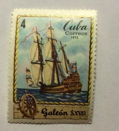 Почтовая марка Куба (Cuba correos) Galleon SXVII | Год выпуска 1972 | Код каталога Михеля (Michel) CU 1824