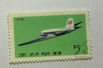 Почтовая марка КНДР (Корея) Lisunov LI-2.   Год выпуска 1974   Код каталога Михеля (Michel) KP 1297