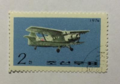 Почтовая марка КНДР (Корея) Antonov AN-2   Год выпуска 1974   Код каталога Михеля (Michel) KP 1296