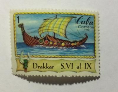 Почтовая марка Куба (Cuba correos) Wiking ship | Год выпуска 1972 | Код каталога Михеля (Michel) CU 1821