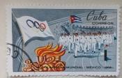 Entry of the Cuban team, Olympic Flag