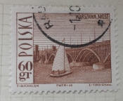 Poniatowski Bridge, Warsaw, and sailboat