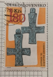 Front and back of lead cross with Greek inscription (9th cen
