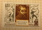 Портрет Микелянджело Буонарроти,итальянского скульптора Худ.В.Пименов.грав И.Сапронов