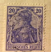 Germania with imperial crown, hatched background
